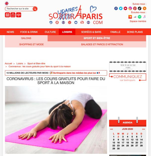 cours fitness en ligne coronavirus